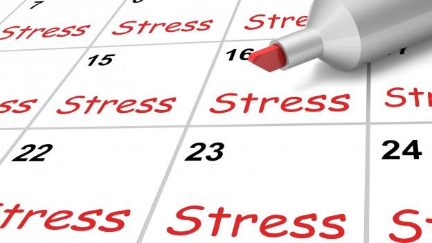 Ein Kalender, auf dem bei jedem Tag rot das Wort «Stress» geschrieben steht.