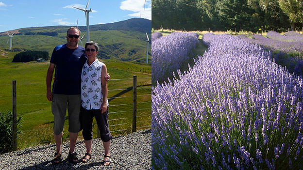 Barbara und Peter Sperl und Lavendelfeld.