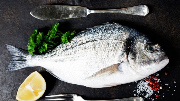 Fischmesser neben Fisch.