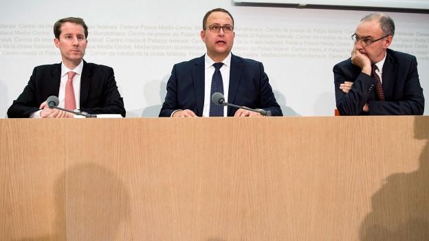Thomas Aeschi, Norman Gobbi und Guy Parmelin.