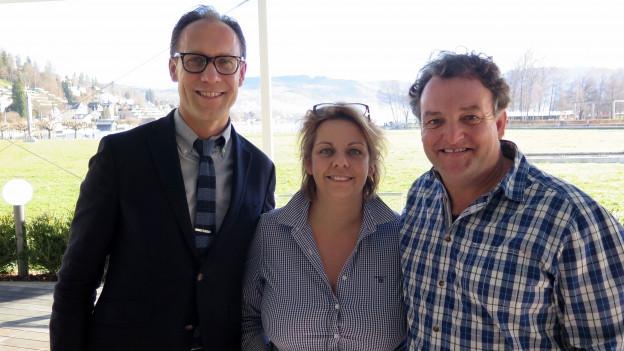 Christian Zeugin (links) mit Nathalie Henseler und Marco Rima.