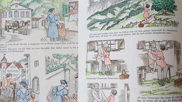 Heidi-Buch mit Zeichnungen.