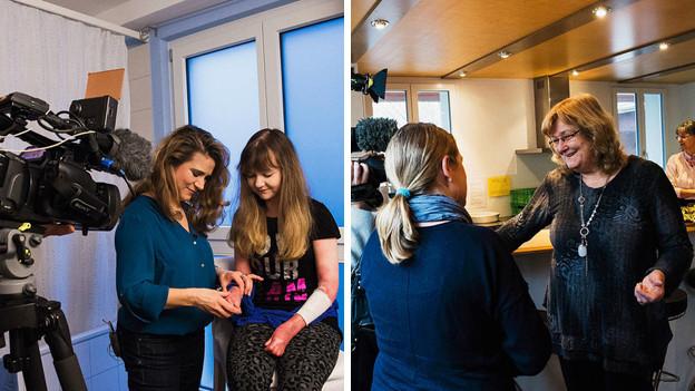 Tanja Reusser verbindet ihrer Tochter die Hand und Esther