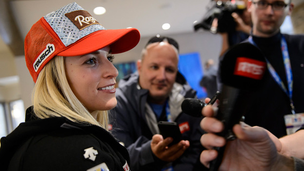 Lara Gut an einer Medienkonferenz an der Ski-WM in Beaver Creek.