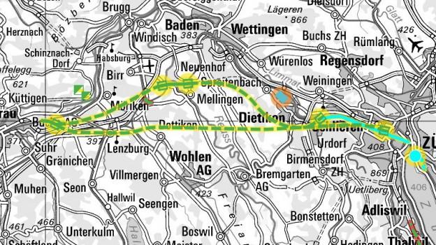 Bild in Lightbox öffnen. Bildlegende: Varianten: Chestenberg- und Honerettunnel (oben) oder eine direkte Verbindungen (unten) zwischen Rupperswil und Zürich