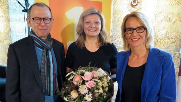 «Persönlich»-Gäste von Sonja Hasler: Viktor Giacobbo und Cornelia Stamm Hurter.
