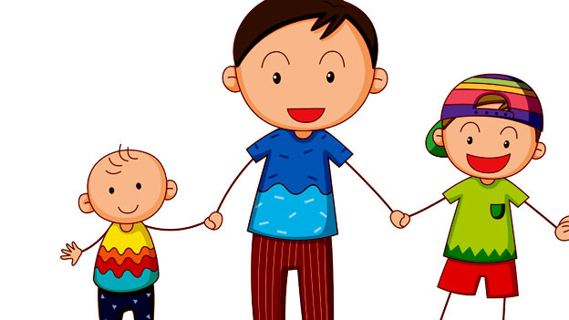 Drei Geschwister im Comic.