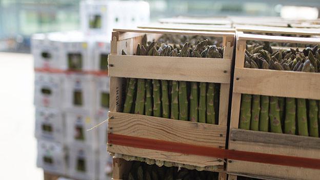 Importspargeln in Holzkisten.