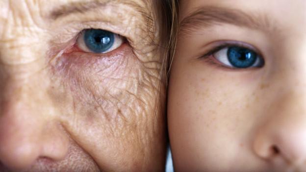 Das Gesicht einer alten Frau nebem dem Gesicht einer jungen Frau.