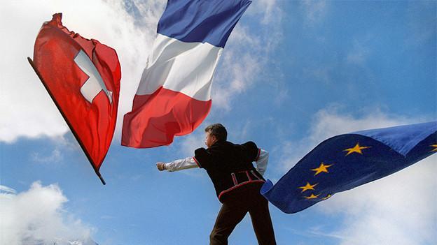 Flaggen Schweiz-Frankreich