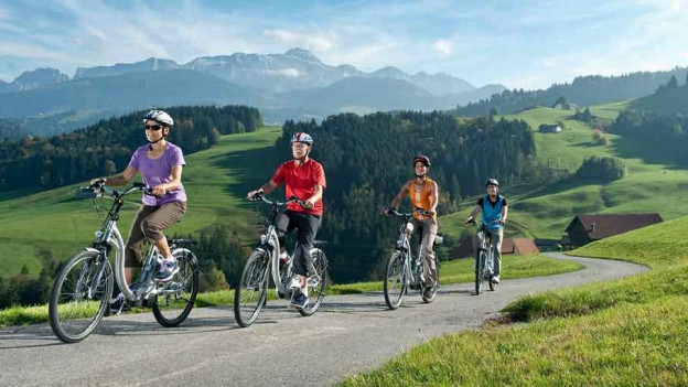 Familie auf E-Bikes.