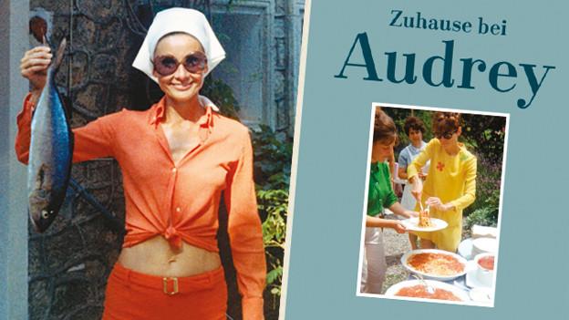 Audrey Hepburn mit Fisch in der Hand, Buchcover.