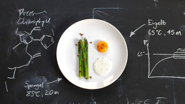 Ein Teller steht auf einer Wandtafel.