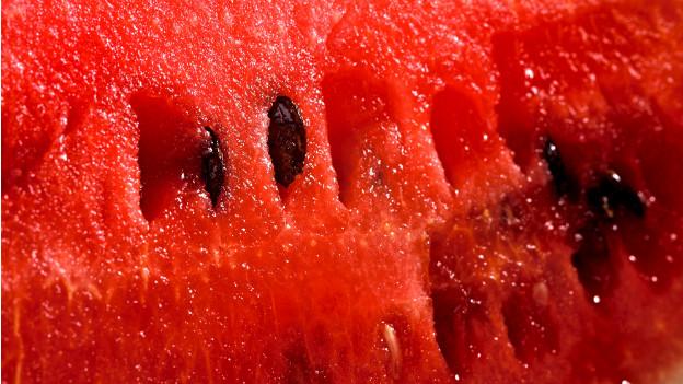 Rotes Fruchtfleisch einer Wassermelone mit Kernen