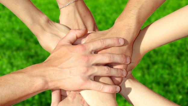 Viele Hände halten sich. Damit bildet sich etwas wie eine Blume.