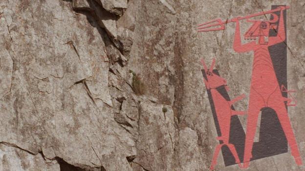 Schroffe Felswand in der Schöllenenschlucht mit der Teufels-Malerei von Heinrich Donath