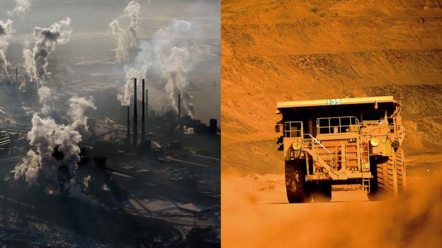 Rauchende Kamine eines Stahlwerks in Deutschland und ein Truck in einer Eisenerzmine in Australien.