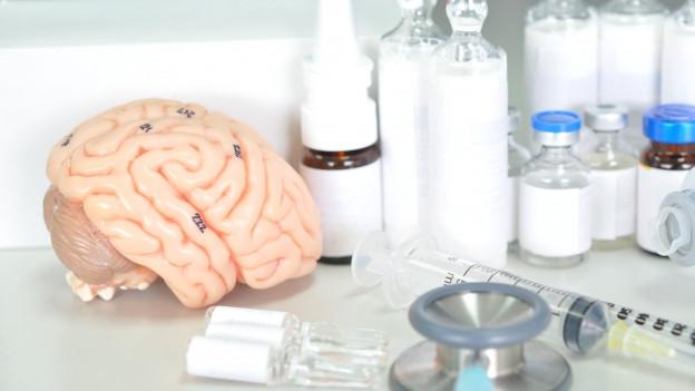 Ein Hirn aus Plastik liegt neben medizinischen Instrumenten