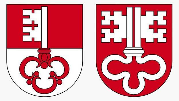 Die Kantonswappen von Obwalden und Nidwalden.