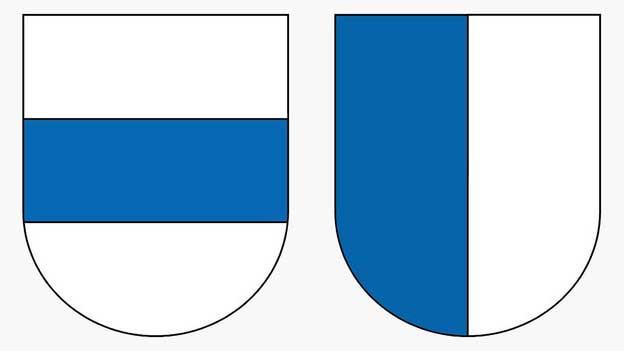Die Kantonswappen von Zug und Luzern.