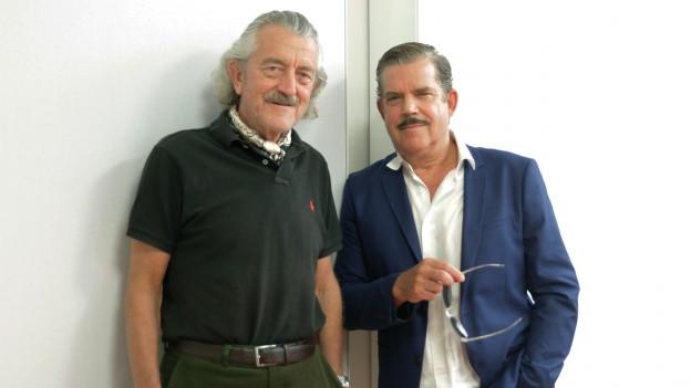 Dieter Meier und Boris Blank vor weisser Wand