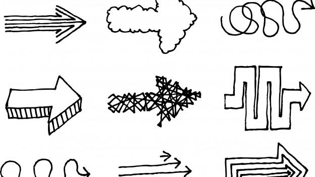 Viele gezeichnete Pfeile, die mit 'Umwegen' gezeichnet sind.