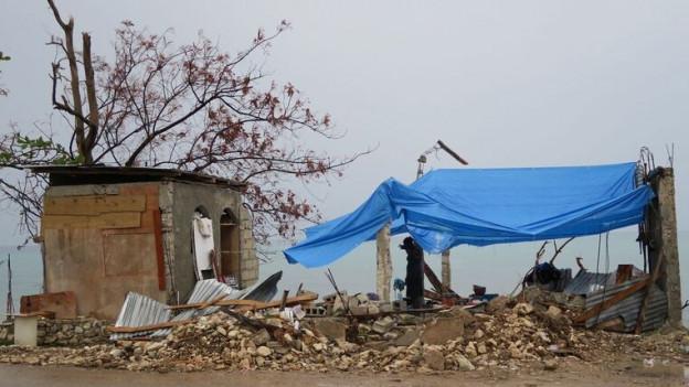 Zerstörte Häuser und kaputte Bäume in Haiti