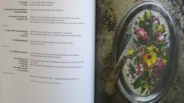 Kochbuchseite mit Rezept und Bild.