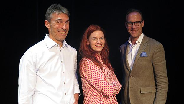 «Persönlich»-Gastgeber Christian Zeugin (rechts) mit Severin Moser und Kafi Freitag.