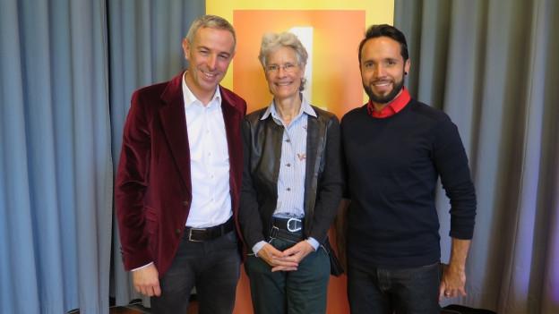 Gruppenbild von Helene von Gugelberg, Dani Fohrler, Mario Pacchioli.