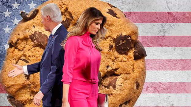 Eine Fotomontage mit Bill Clinton und Melania Trump mit Cookie.