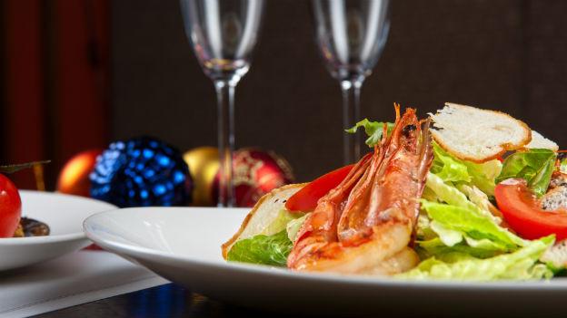 Shrimps als Weihnachtssalat.
