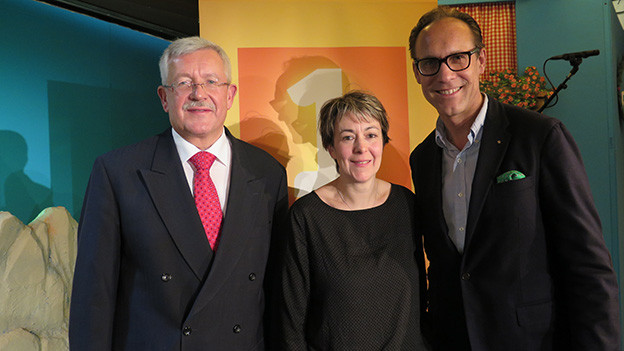 «Persönlich»-Gastgeber Christian Zeugin (rechts) mit Bernadette Lisibach und Martin Dahinden.
