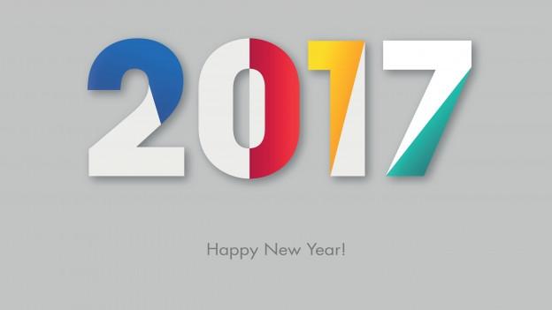 Die Jahreszahl 2017 in verschiedenen Farben geschrieben.