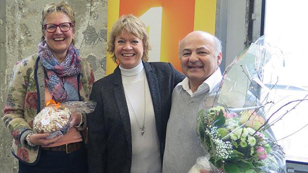 Daniela Lager (mitte) mit Ruth Breitenmoser und Pietro Cappelli.