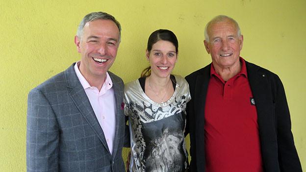 «Persönlich»-Gastgeber Dani Fohrler (links) mit Diana Tiede-Schwab und Ueli Gygax.