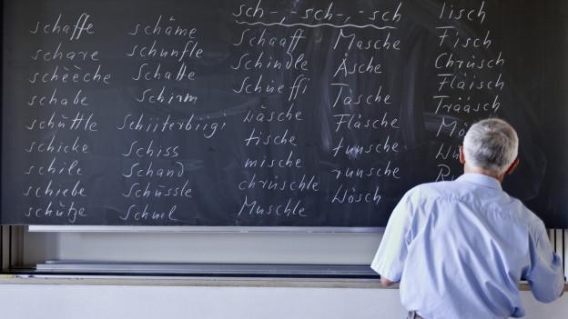 Mann steht vor Schultafel mit schweizerdeutschen Wörtern.