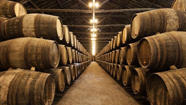 Portwein-Keller mit vielen Fässern.