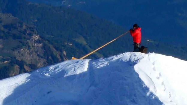 Dänu Wisler auf dem Gipfel des Mönchs