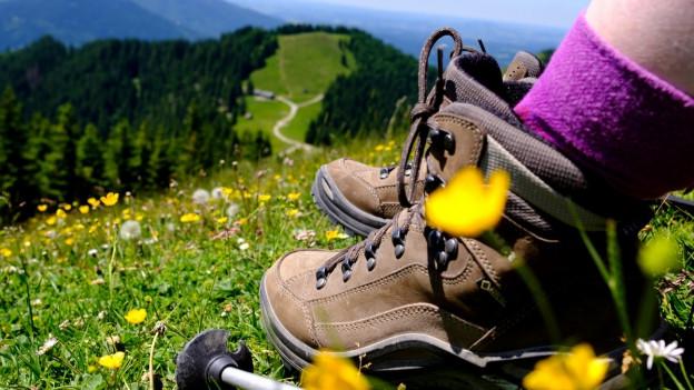 Wanderschuhe und Wanderstock gehören zu jeder Wanderung.