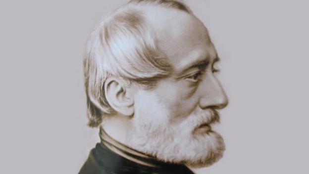 Porträt von Giuseppe Mazzini, in Form einer Zeichnung.