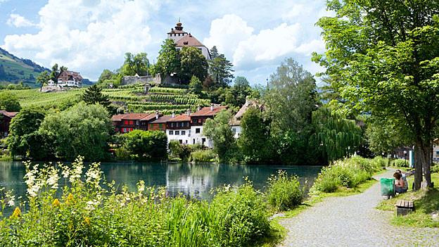 Ein Schloss auf einem Hügel mit Blick auf einen See.
