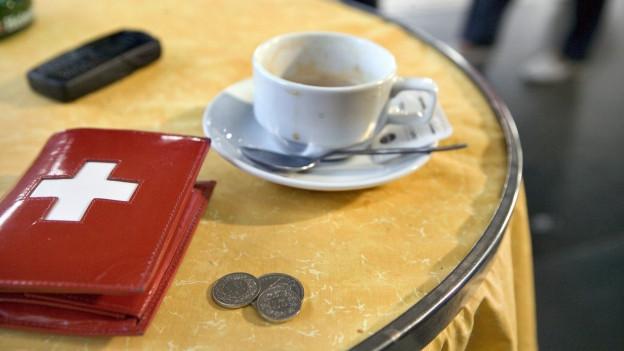 Kaffeetasse mit Trinkgeld.
