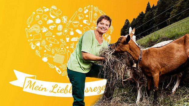 Brigitte Wegmüller mit Ziegen (Bildmontage).