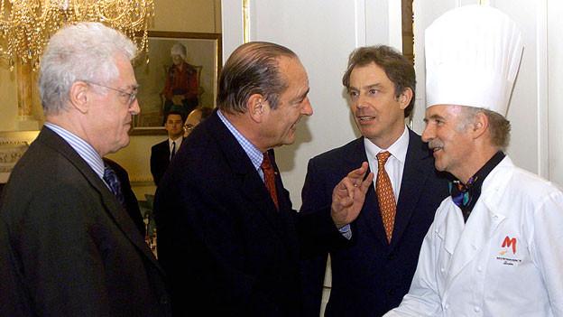 Anton Mosimann mit Lionel Jospin, Jacques Chirac und Tony Blair in London.