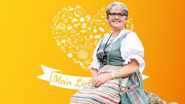 Irene Schmid vor dem gelben Lieblingsrezept-Visual.