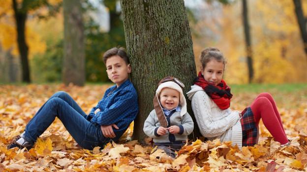 Drei Geschwister sitzen bei einem Baum.