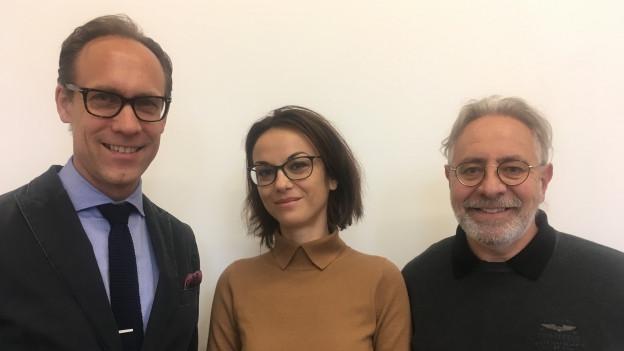 Porträt von Christian Zeugin, Andrea Bleicher und Theo Schnider.