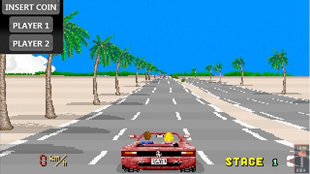 Ein verpixeltes rotes Auto auf einer Strasse.