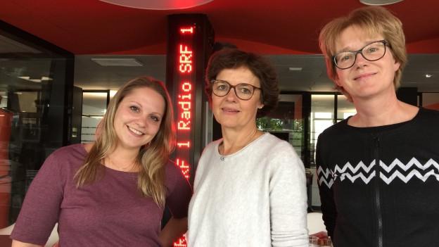 v.l.n.r. Fabienne Zehnder, Ursula Schuppisser und Irene Minder Ruch arbeiten diese Woche für Radio SRF 1.